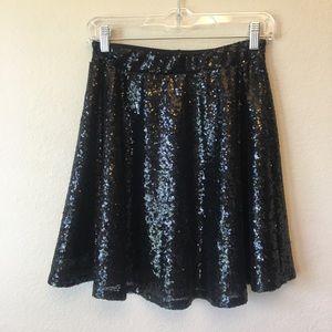 Sequin black skater skirt